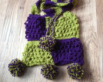 Purple & green knitted bag