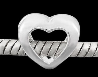 """European Charm Bead For All Large Hole Charm Bracelet And Necklace Chain. """"Open Minded"""" Heart, Summer Collection"""
