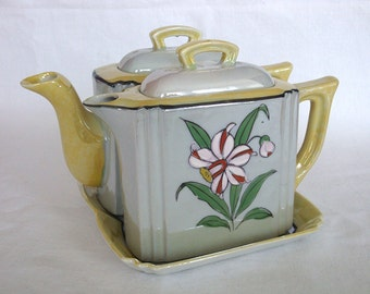 Vintage Hand Painted Lustreware Teapot and Coffeepot Set