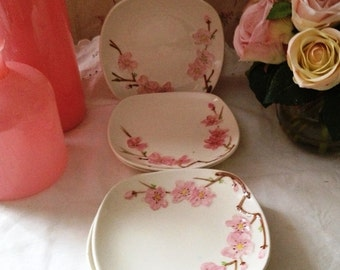Vintage 1950s California Peach Blossom Metlox Poppytrail Bread and Butter Plate Set of 6