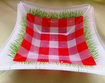 Red Gingham Hankerchief Glass Bowl