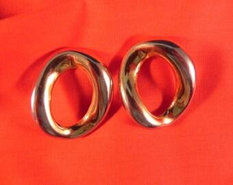 Vintage Earrings Oval Hoop Gold Tone Pierced of Designer Quality