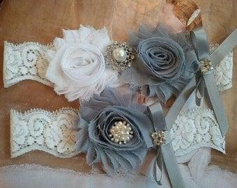 Bridal Garter, Wedding Garter and Toss Garter -White & Silver Garter Set with Pearl and Rhinstone - Style G217