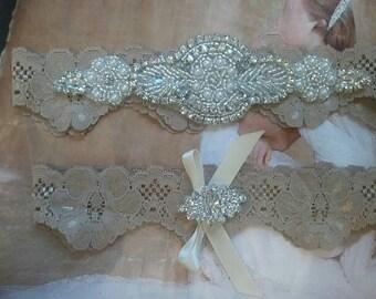 Wedding Garter, Bridal Garter, Garter - Crystal Rhinestone Garter Set on a Deep Sand Lace - Style G2000