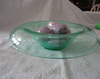 Green Console Glass Bowl Chips Dips Fruit Bowl Home Decor