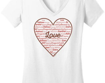 Love in Different Languages Valentines Day Heart Junior's V-Neck T-Shirt  DT6501 - HS-303