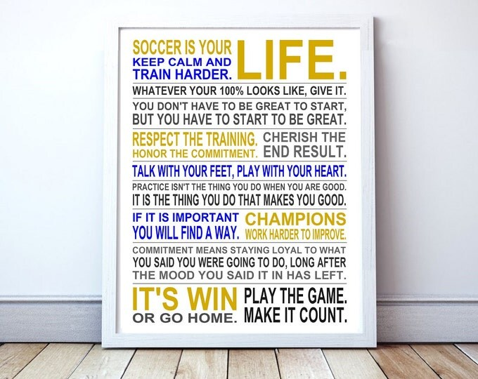 Keep Calm and Train Harder - Soccer Manifesto Poster Print