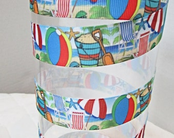 Going to the Beach Grosgrain - 7/8 inch wide x 3 or 5  yards . Pail and Shovel fun ribbon