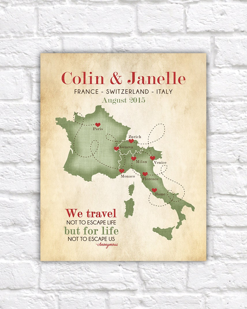 European Vacation Map Honeymoon Wedding France Switzerland - Us travel map poster