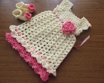 cream pink baby, cream baby dress, crochet baby clothes, crochet baby outfit, newborn girl dress, newborn girl outfit, crochet baby dresses