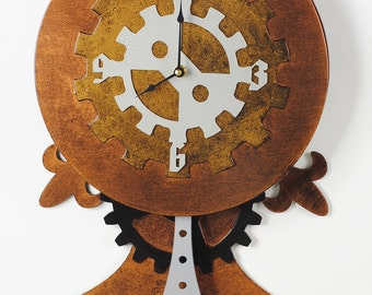 Steampunk Wall Clock with Pendulum