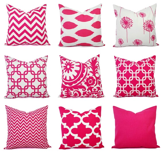 Pink Decorative Pillows : One Decorative Pillow Cover Bright Pink and White Pillow