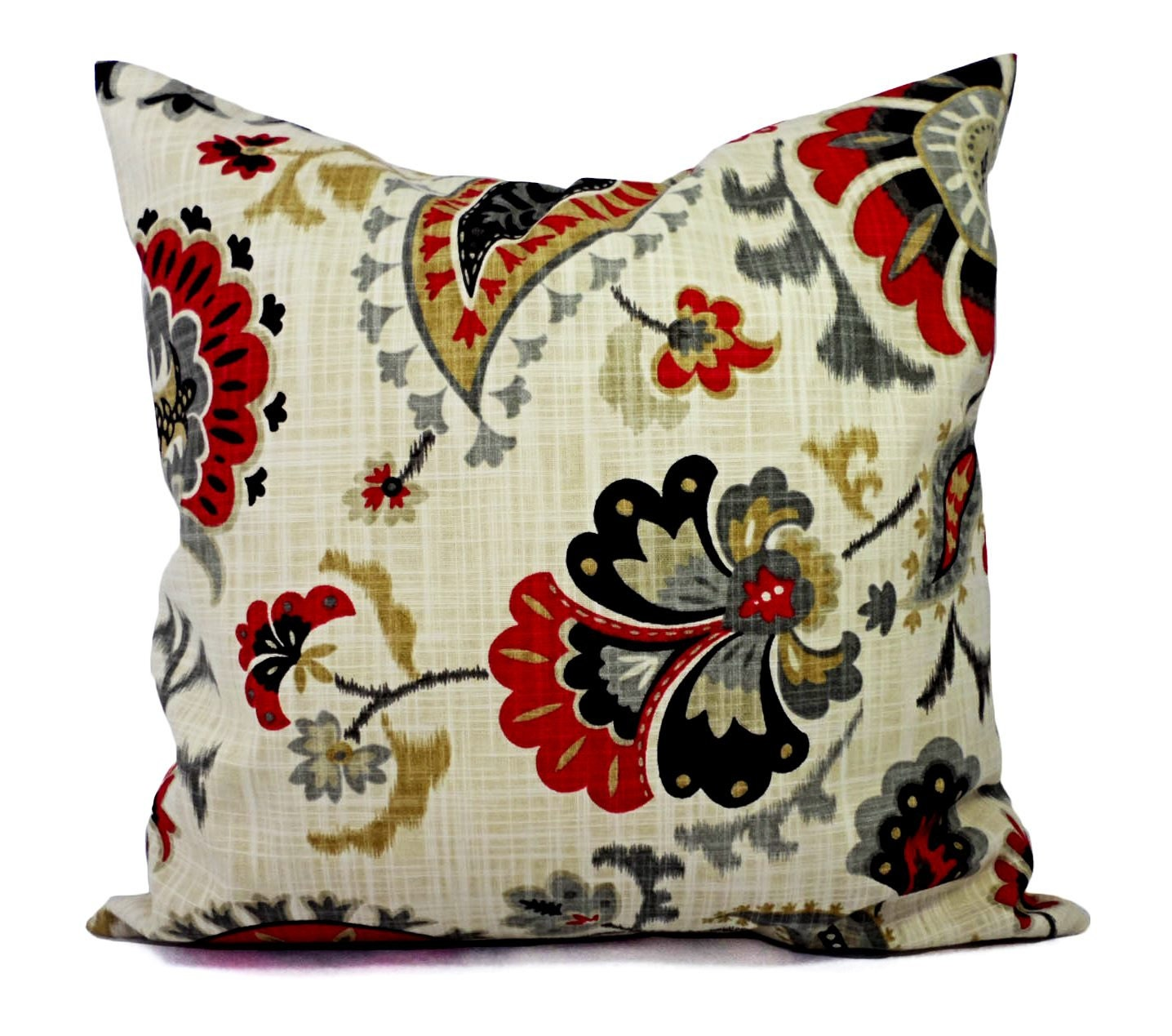 Two Throw Pillows in Red Black Gold and Grey by CastawayCoveDecor