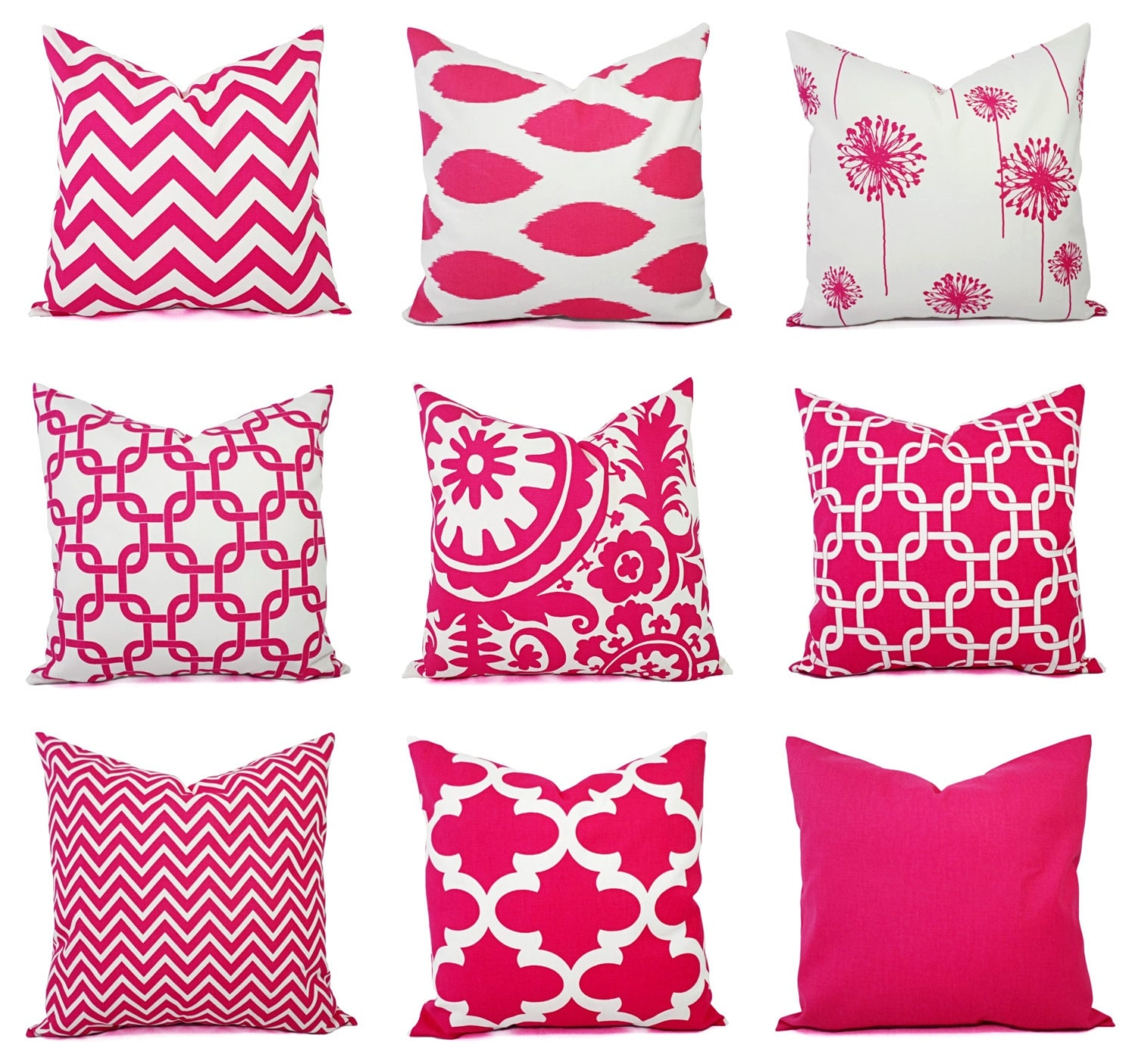 Pink Decorative Pillow Covers : One Decorative Pillow Cover Bright Pink and White Pillow