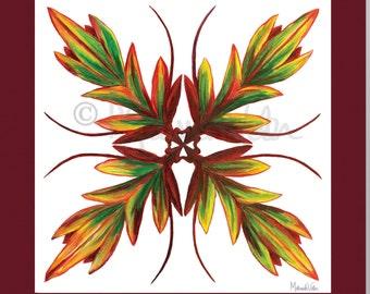Ti Leaf Hawaiian Quilt Painting print