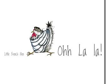 Ohh La La Greeting Card - Funny Chicken Birthday Card, Blank Inside, French Hen