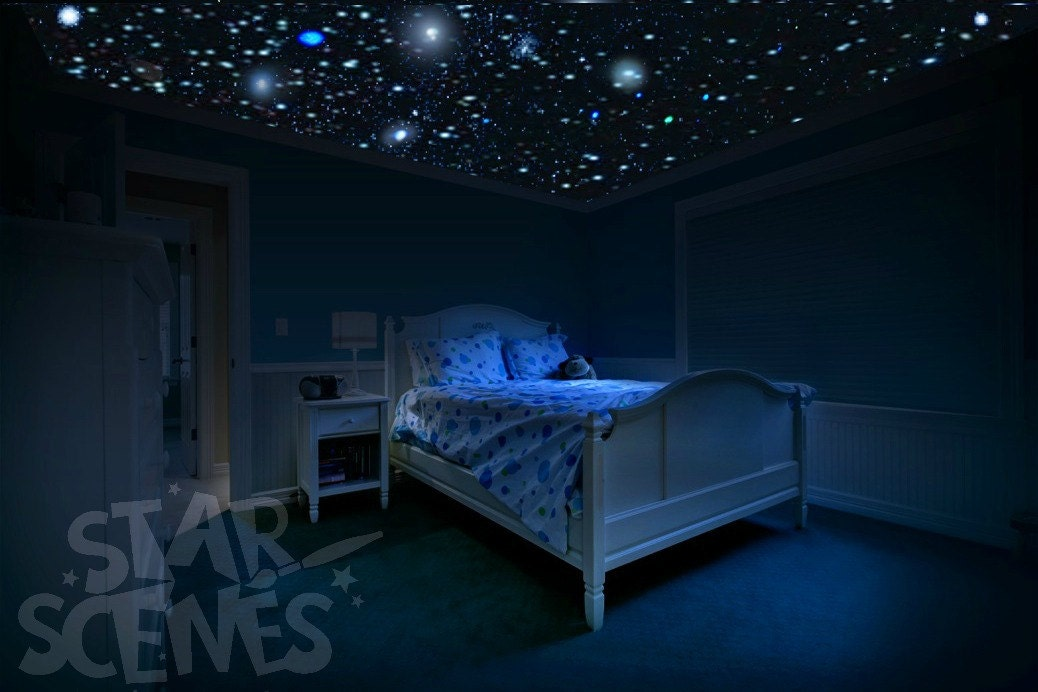 Glow in the dark stars room idea diy star ceiling by starscenes - Stickers fluorescent plafond ...