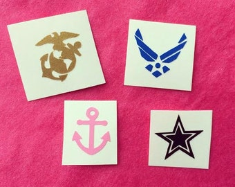 Military nail appliques set of 8 - USMC -Marine Corps -Army -Air force -Navy