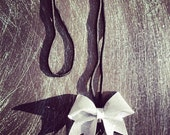 Sliver Glitter mini cheer  bow lanyard. Ask about bulk discounts, color and mascot options.