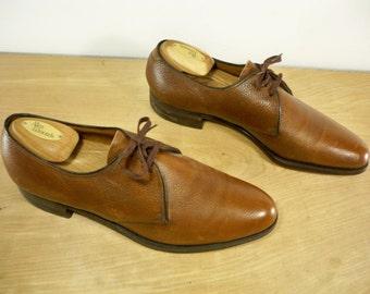 Vintage Florsheim Brown Leather Dress Oxfords Men's Swinger Pimp Shoes Size 10 Made in USA