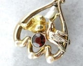RESERVED Victorian Love And Heart Motif Brooch Or Pendant D334Y7-R