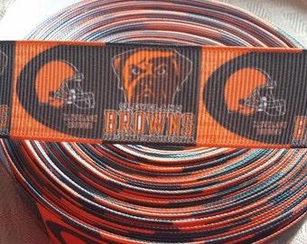 SALE-1' Browns ribbon-football ribbon- nfl crafting  ahair bow ribbon-
