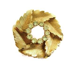 Vintage Gold Tone Rhinestone Leaf Motif  Wreath Brooch Pin