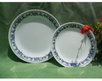 Corelle blue onion dinner and salad plate