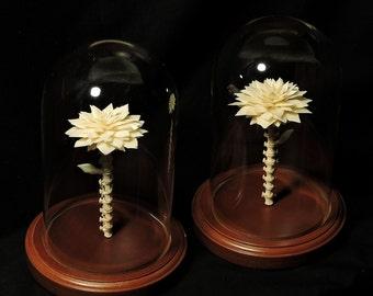 Bone Flower Under Glass Dome