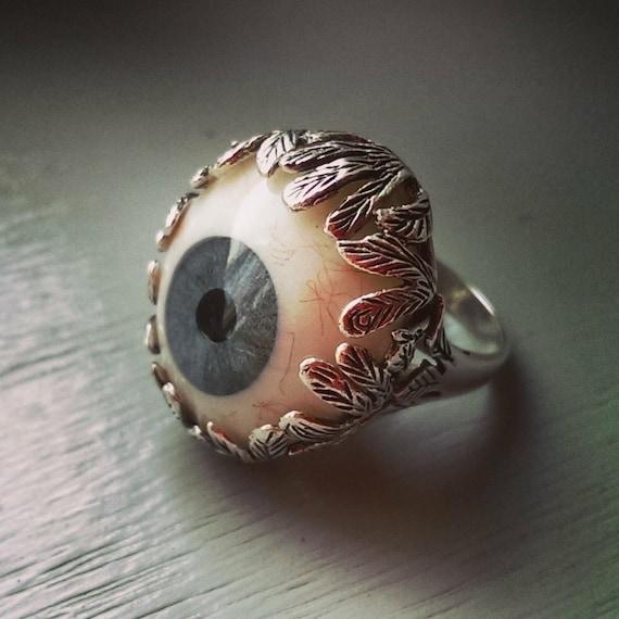 glass eye ring sterling silver evil eye prosthetic eye ring