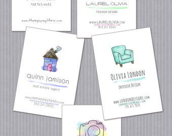 Business Cards: Watercolor Collection