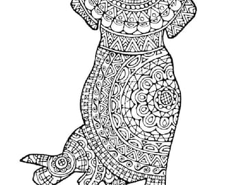 1 Adult Colouring Pages Original Hand Drawn Art In Black And White Instant Digital