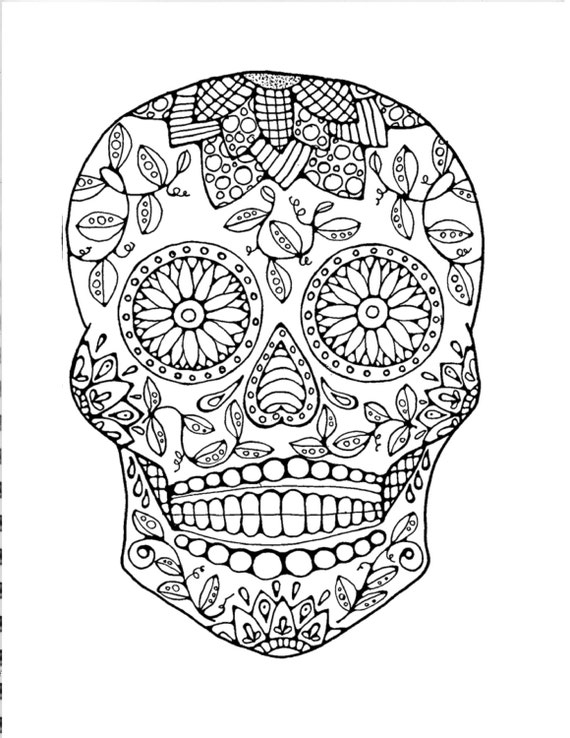Adult coloring page original hand drawn art by for Sugar skull coloring pages for adults
