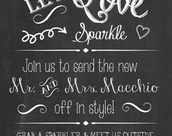 Personalized Sparkler Sendoff Sign for Rustic wedding