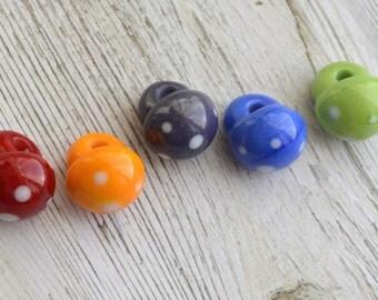 Handmade Lampwork Glass Buttons - 'Rainbow' Buttons - SRA - E108