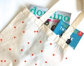 Hand Block printed Cotton Tote bag in Polka Dots