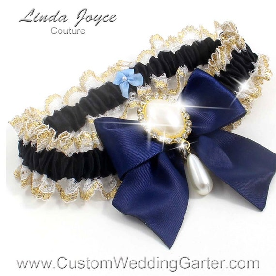 Items Similar To Black And Navy Blue WEDDING GARTER Pearl