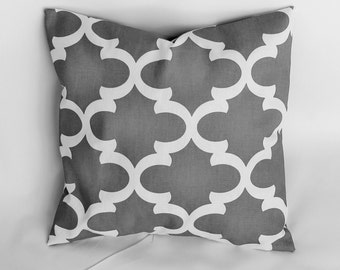 Designer decorative throw pillow cover Fynn grey toss pillow case 14x14 16X16 18x18 20x20 22x22 Also orange yellow navy red blue black