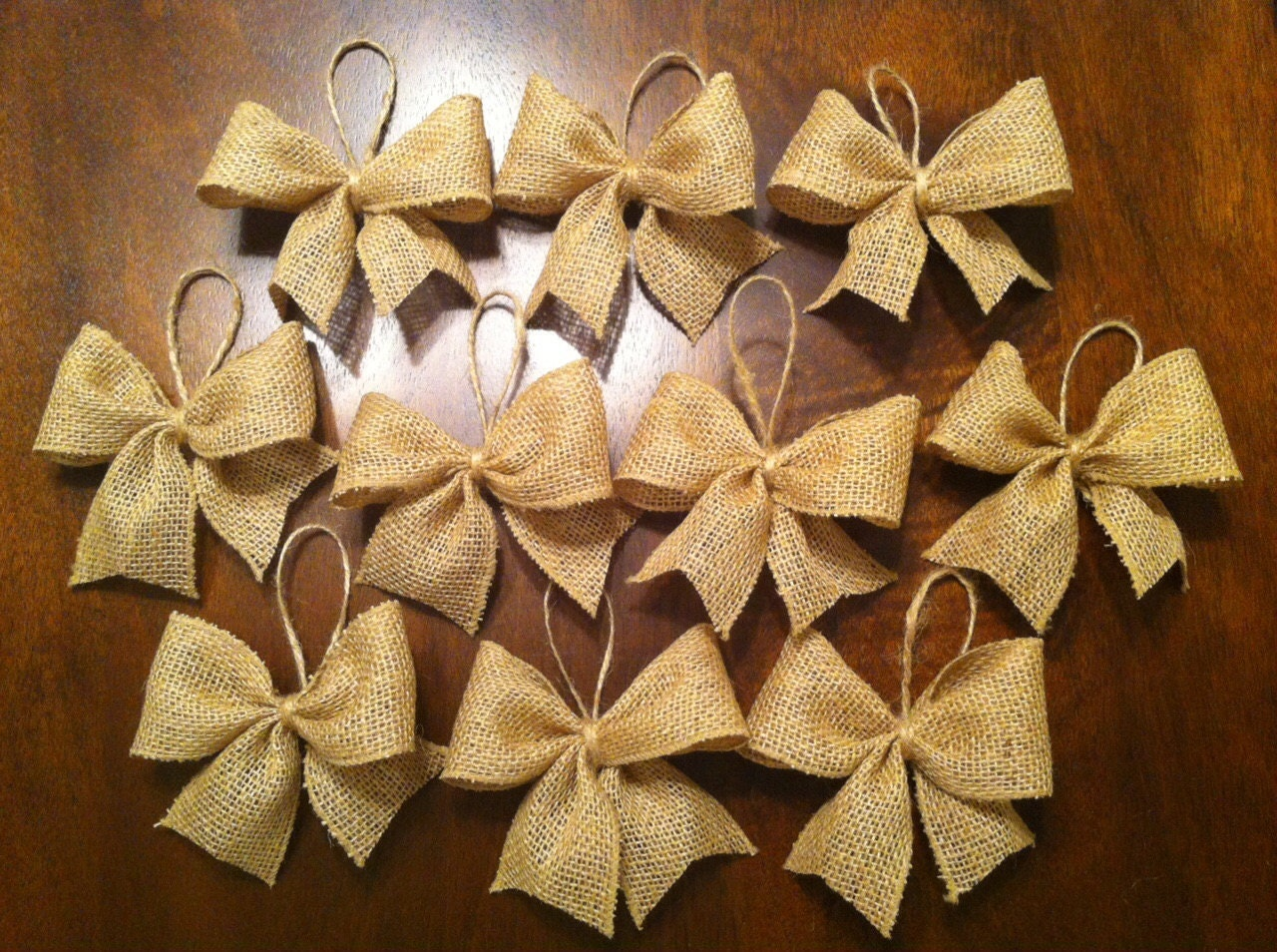 Burlap Bow Christmas Tree Ornaments-Set Of 6 By TheTealTree