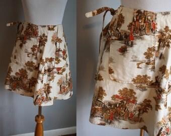 70's Wrap Mini Skirt // Village Novelty Print // XS