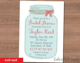 Mason Jar Bridal Shower Invitation Digital Download