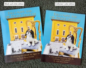 """Coloring Book gift pack with mini book and tote bag - """"Follymops and the French Chateau"""" - Cavalier King Charles spaniels"""