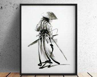 Samurai print, samurai poster, samurai sword, asian painting, home decor, ronin, ronin art, warrior poster