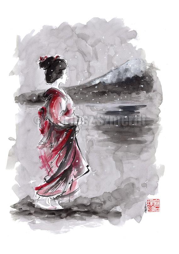Geisha painting japanese art watercolor artwork by samuraiart for Japanese watercolor paintings