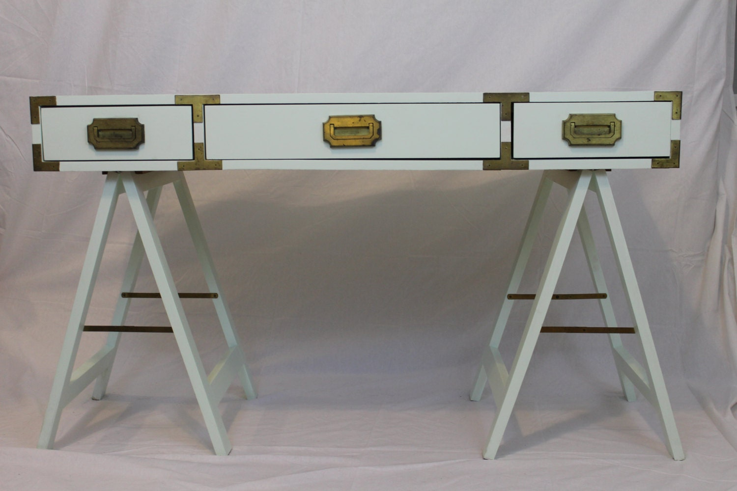 Vintage Mint Green Campaign Desk by HOSTAANDCO on Etsy