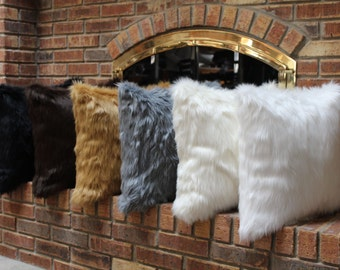 "Premium Shaggy 18""x18"" Faux Fur Throw Pillows (insert included) - Select your color"