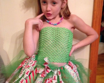Christmas Fabric Tutu-Ready2Ship Perfect for: Pageant, Outfit of Choice Special occasion, photo shoot, dress-up play