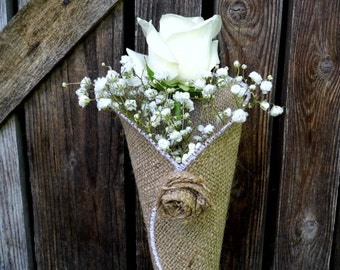 Burlap Flower Cone, Church Pew Decoration, Rustic Wedding Decor, Aisle Decoration, Floral Decorations, Barn Wedding, Bridal Shower Decor