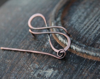"Shawl pin, scarf pin, brooch, shawl pin ""Infinity"", copper brooch, silver shawl pin, sterling silver, silver 925, oxidized copper pin,"