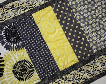 Modern Daises Table Runner Centerpiece in Yellow Gray Black